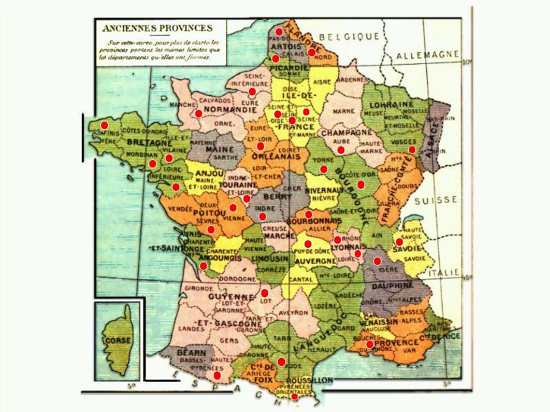 Map of French Provinces before 1789