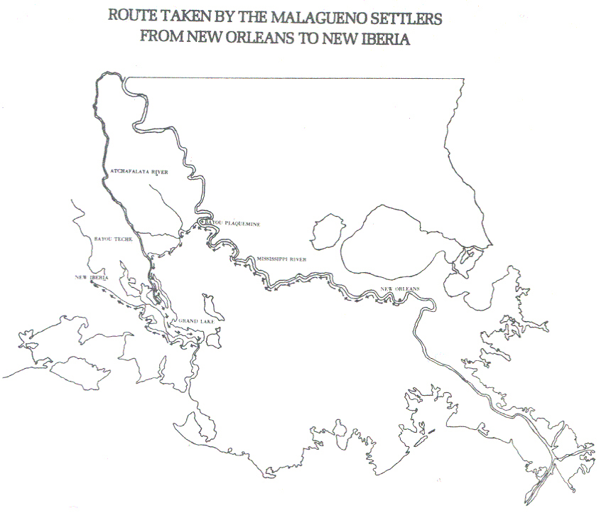 Map of Route Taken by the Malaguenos